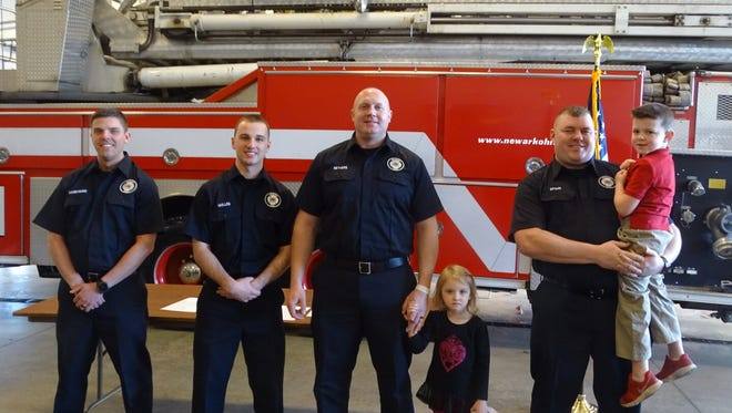Beau Daubenmire, Dylan Mullen, Rich Nethers and Jonathan Spohn were sworn in as the four newest members of the Newark Fire Department Monday.