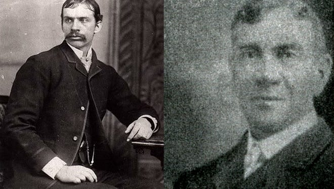 One of Mesa's first cases of excessive use of force found Marshal Hyrum Smith Peterson (left) accused by fellow lawman Constable William A. Burton.