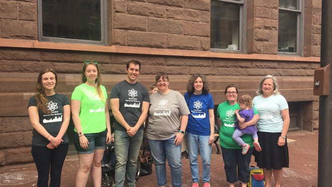 Local scientists and supporters announce the April 22 Rochester March for Science outside City Hall on April 10, 2017