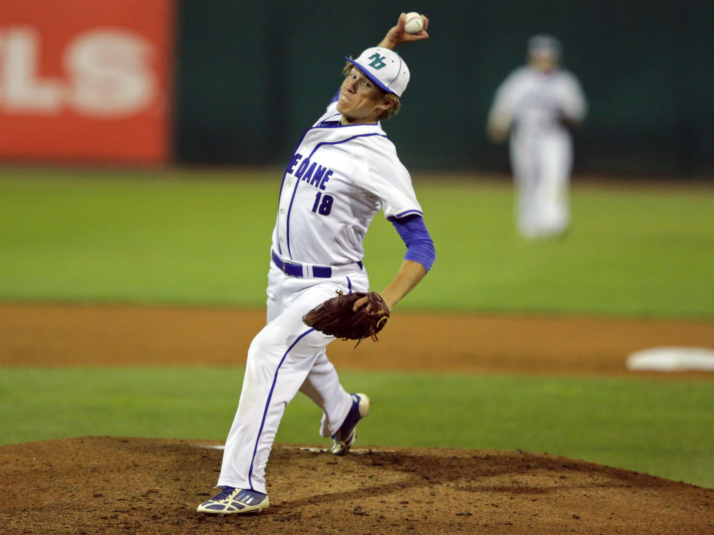 Ty Yewman allowed three hits and struck out 17 as Green Bay Notre Dame beat River Valley in a WIAA Division 2 state baseball semifinal June 17 at Fox Cities Stadium in Grand Chute.