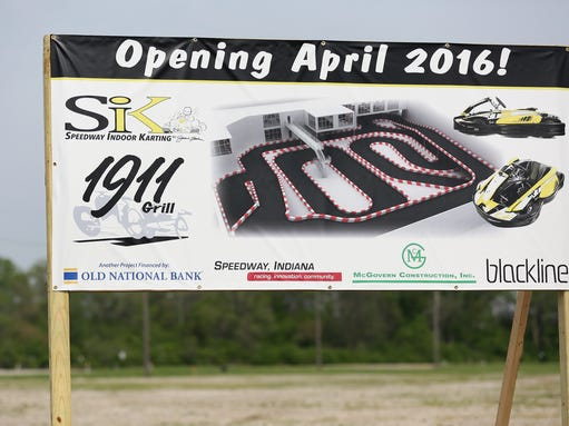 A sign marks the future home of the Speedway Indoor