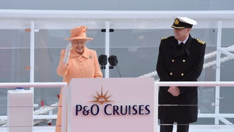 Britain's Queen Elizabeth officially names P&O Cruises new flagship, the 143,000-ton Britannia at a ceremony in Southampton, England on March 10, 2015.