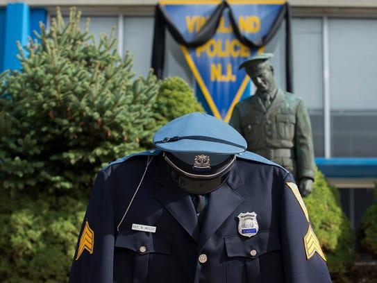 Baron A. McCoy's uniform on display outside of the