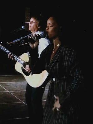 Rihanna performs 'FourFiveSeconds' with Paul McCartney Saturday, Oct. 15, 2016 at Desert Trip.