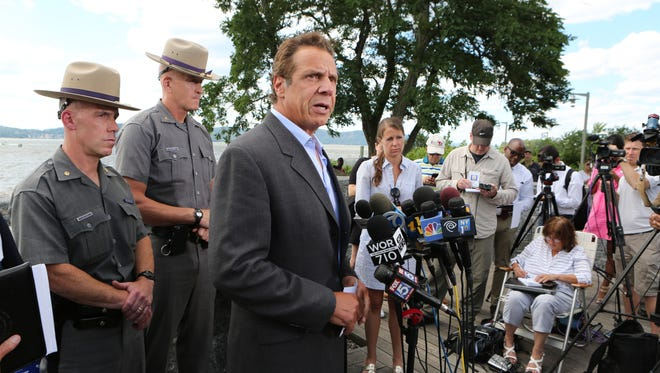 New York State Governor Andrew Cuomo at the Tarrytown waterfront, delivers remarks about the crane collapse onto the Tappan Zee Bridge July 19, 2016.