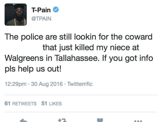 A screenshot of T-Pain's tweet about his niece being