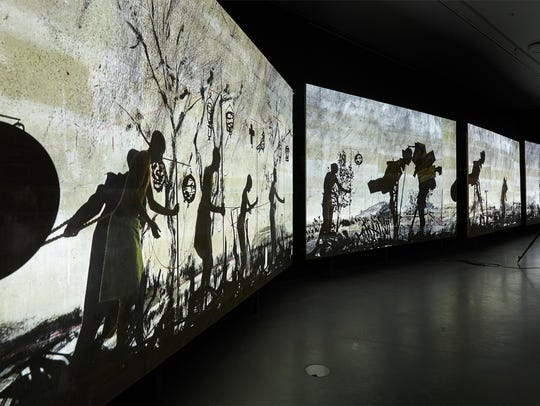 "William Kentridge's ""More Sweetly Play the Dance"" is"