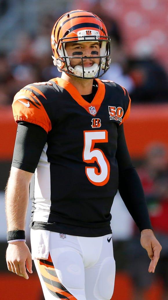 Cincinnati Bengals quarterback AJ McCarron (5) lines