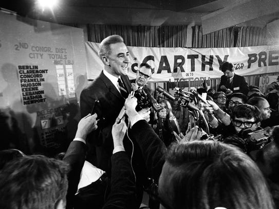 Sen. Eugene McCarthy, D-Minn., is shown in this March