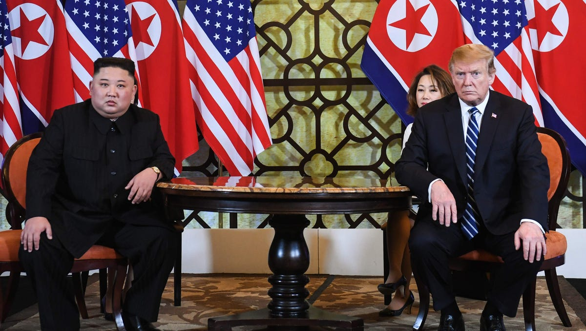 US President Donald Trump (R) and North Korea's leader Kim Jong Un hold a meeting during the second US-North Korea summit at the Sofitel Legend Metropole hotel in Hanoi on February 28, 2019. (Photo by Saul LOEB / AFP)SAUL LOEB/AFP/Getty Images ORIG FILE ID: AFP_1E04JO