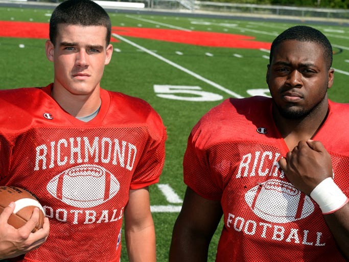 Richmond High School football players Jordan Christian, left, and Nate Trawick.