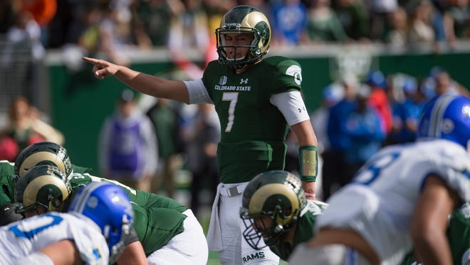 Former CSU quarterback Nick Stevens, shown calling out a play during an Oct. 28, 2017, game against Air Force, signed a free-agent contract Thursday with the Denver Broncos.