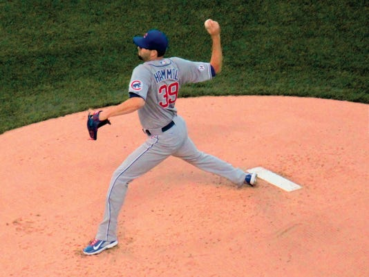 Danny Udero/Sun-News   Jason Hammel of the Chicago Cubs won his first game of the year against the Colorado Rockies this past weekend in Denver, Colo.