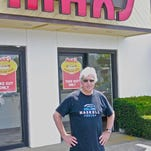 American Pharoah trainer Bob Baffert had his traditional hot dog at Max's Famous in West Long Branch on Sunday.