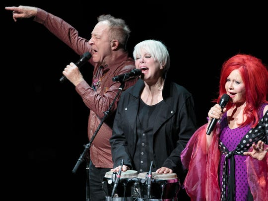 Fred Schneider, Cindy Wilson, and Kate Pierson, founding members of The B-52s perform at ACL Live in Austin, Texas.