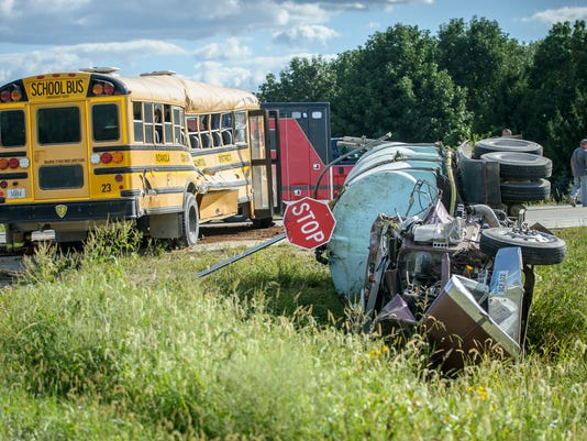 Update: Indianola school bus T-boned by truck on Hwy  92