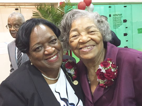 This Sept. 10, 2016 photo shows UMES President Juliette Bell (left) and Deloris Hytche, the widow of former UMES President William P. Hytche Sr. They attended the unveiling of a life-sized statue of the former president and the grand opening of the William P. Hytche Legacy Museum, both located at the Hytche Athletic Center on the UMES campus.