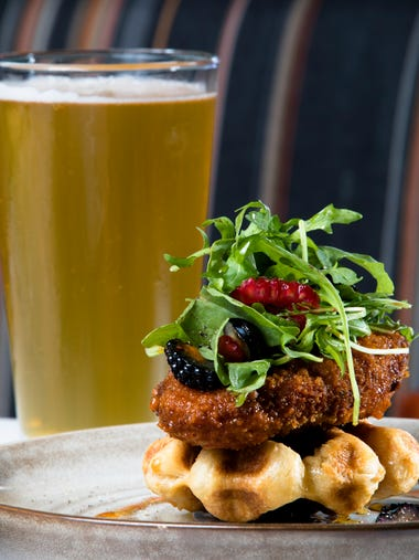 The Chicken and Waffles dish at Overlook Kitchen and