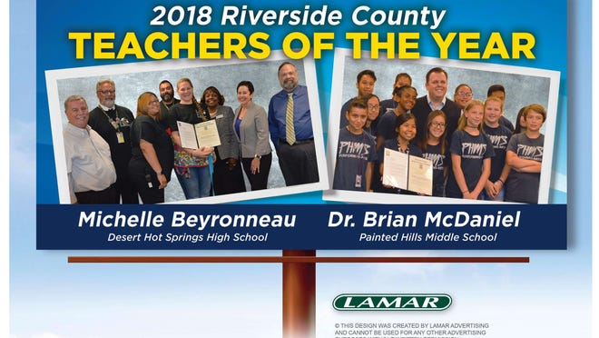 A billboard at Palm Drive and Dillon Road recognizes two Desert Hot Springs teachers who are among Riverside County's Teachers of the Year.