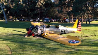 The crashed plane on Penmar Golf Course in Santa Monica. Reports say Harrison Ford was at the controls.