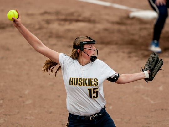 Port Huron Northern's Riley Shagena throws a pitch during a softball game Friday, April 28, 2017 at Port Huron Northern High School.
