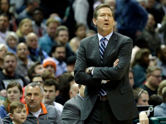 Knicks head coach Jeff Hornacek watch his team Thursday night fall to the Nets, 121-110. It was the second loss in five days to the Nets, who have won just 13 games all season, and prevented the Knicks from winning two straight games - something they haven't done since Dec. 22.