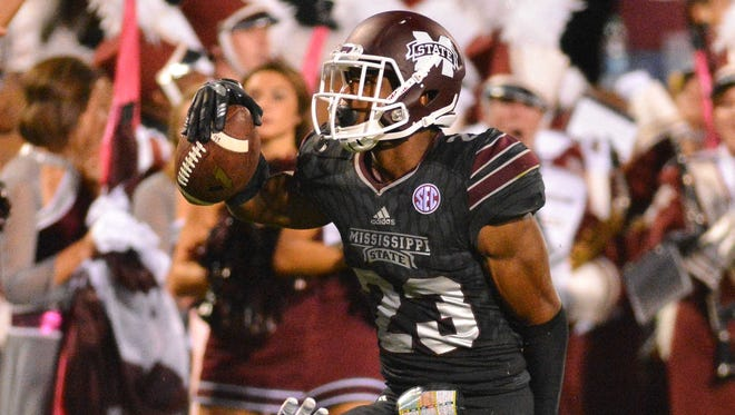 Former Mississippi State corner Taveze Calhoun worked out at the combine on Monday.