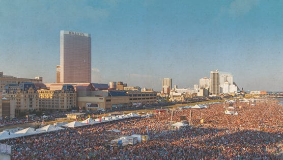 A concert on the beach in Atlantic City.