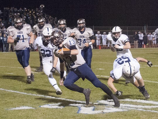 Timber Creek quarterback Devin Leary looks for running room during the second quarter of Friday;s game against Shawnee.