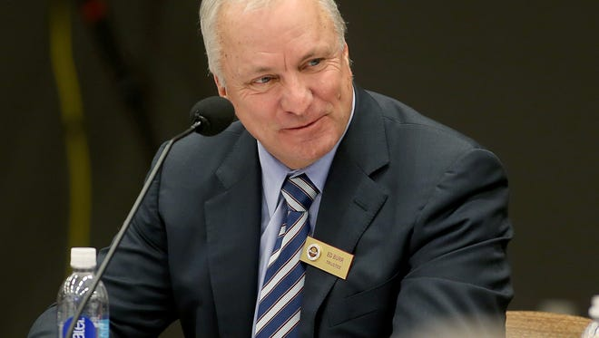 FSU Trustee Ed Burr participates in a discussion during a meeting Friday at Turnbull Center.