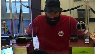 Surveillance photo of suspected bank robber.