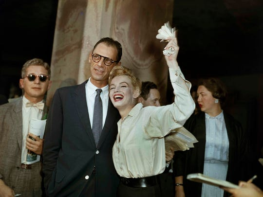 Newlyweds Marilyn Monroe (right) and Arthur Miller are shown after their civil wedding ceremony in White Plains, N.Y., on June 29, 1956.