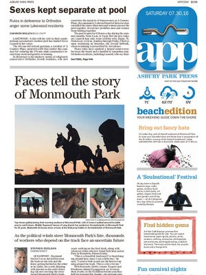 Asbury Park Press front page, Saturday, July 30, 2016