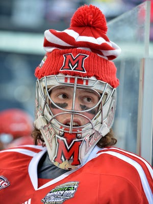 Miami Ohio Goalie Jay Williams has been strong for the RedHawks this season. Miami is a top seed in the NCAA hockey tournament.