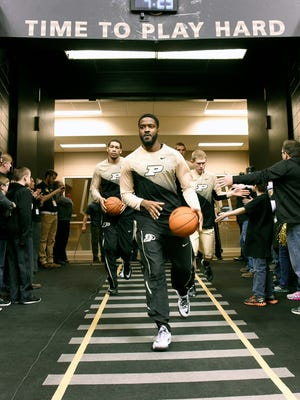 Purdue guard Rapheal Davis (35) leads his team onto the floor before a game at Mackey Arena.