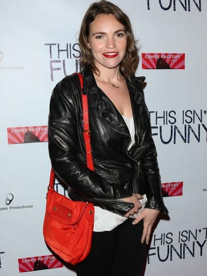 "Comedian Beth Stelling attends the premiere of ""This Isn't Funny"" at Crest Theatre on November 2, 2015 in Westwood, California."