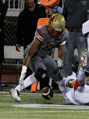 Oak Christian's Michael Owusu (88) recovers a fumble during the Lions' 52-14 win over Westlake on Friday night.