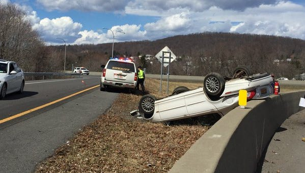 A car was involved in a rollover accident on the Route 17 exit ramp near Airport Road in Binghamton on Thursday afternoon.
