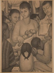 "Diego Rivera, ""La Maestra/Los Frutos de la Escuela (Fruits of Labor),"" 1932, Lithograph."