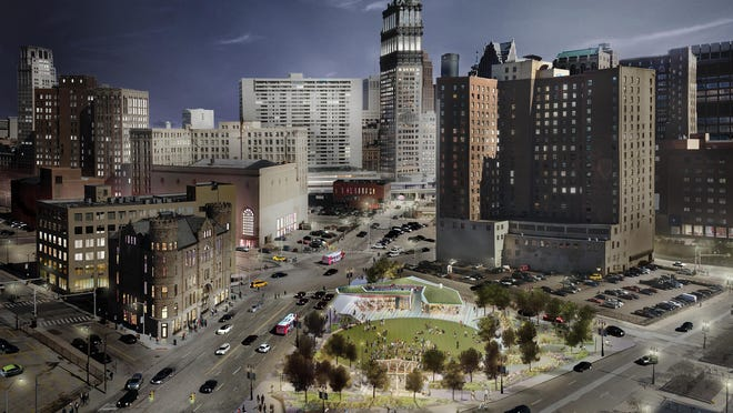 The 56,000 square feet of park space is expected to serve as an anchor for the west end of Detroit's downtown.