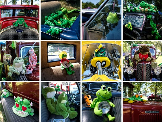Tons of hot rods are decorated with toy frogs during