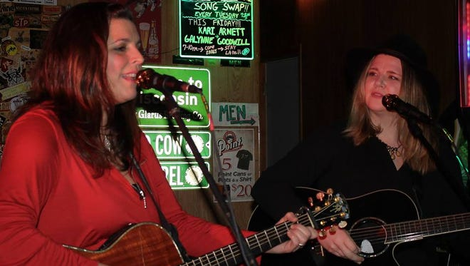 Singer-songwriters Kari Arnett and Galynne Goodwill will perform at 7 p.m. Friday at the Elbow Room in Stevens Point.