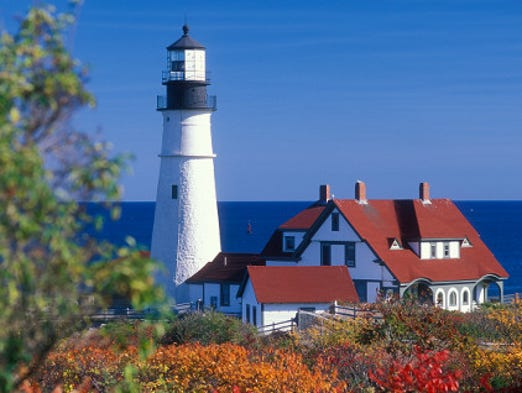 Maine is home to 65 lighthouses. Portland Head Lighthouse in Cape Elizabeth is the state's most visited.