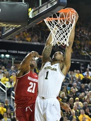 Charles Matthews (1) and Michigan climbed to No. 6 in this week's Associated Press Top 25 poll.