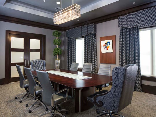Interior design of attorney offices for Grady Abrahams in Lafayette, Louisiana designed by Monique Breaux of POSH Interiors.