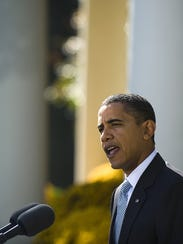 President Obama makes a statement from the Rose Garden