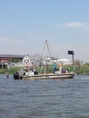 An EPA contractor's craft on the Hackensack River in