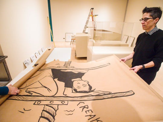 "Cartoonist Alison Bechdel tours preparations for ""Self-Confessed! The Inappropriately Intimate Comics of Alison Bechdel,"" an exhibit of her work at the University of Vermont's Fleming Museum in Burlington on Friday, January 19, 2018."