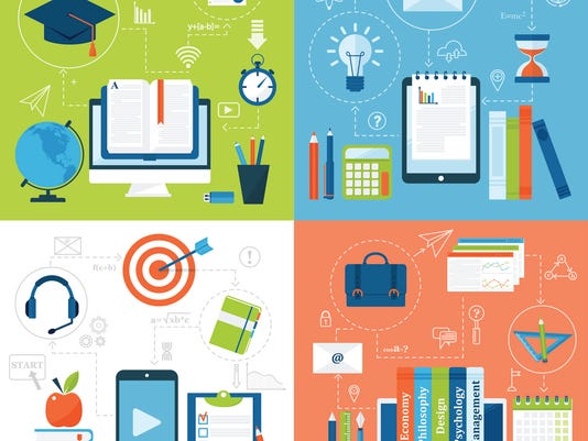 Online education flat icons vector set of distance school and