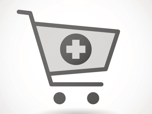 Shopping cart icon with a pharmacy sign